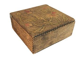 Folk Art Flemish Pyrography Wood Box (Early 20th Century)