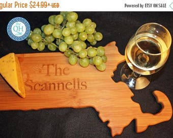 3 Day Sale Massachusetts State Shaped Cutting Board Personalized Wedding Housewarming New Home Moving Hostess Host Closing Unique Gift