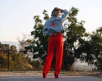 Vintage Elastic Waist Pants * High Waist * Semi Sheer * Red * 80s * Size Small