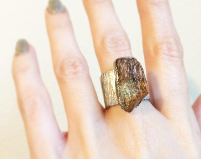 Raw Yellow Apatite Cuff Ring, Size 6.75