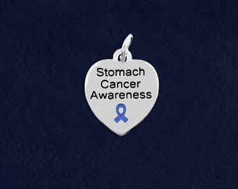 10 Stomach Cancer Awareness Heart Charms in a Bag (10 Charms) (HRTC-02-21SC)