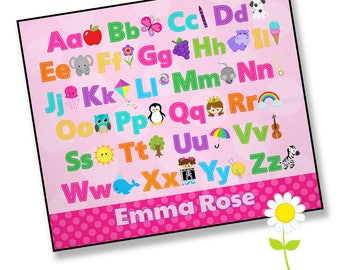 Baby Play Mat with Alphabet & Name - Girls' Personalized Playmat - Waterproof Back Play Blanket - Infant Tummy Time Mat - Baby Shower Gift