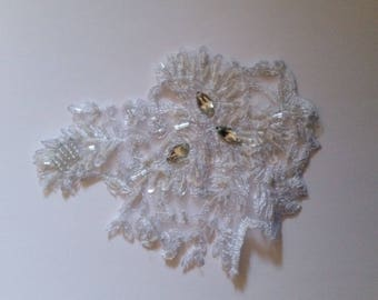 1 applique tulle lace beigedentelle with stones 15 cm X 11 cm