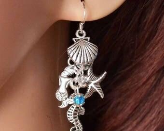Sirens Call Earrings - Handmade Mermaid earrings with a Seahorse and Starfish