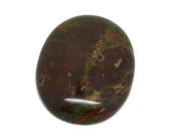 Cabochon gemstone 30 x 40 unakite dark green