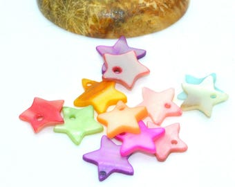 50 sequins 10mm mother of multi-colored stars