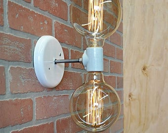 FLASH SALE Double Light Wall Sconce- Industrial Wall Lamp With Edison Bulbs, Wall Light Fixture