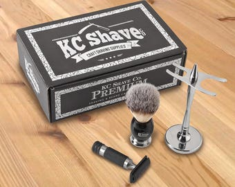 Personalized KC Shave Kit - Hair Shaving Brush & Razor Set - Monogram Shaving Set - Groomsmen gifts - RO165