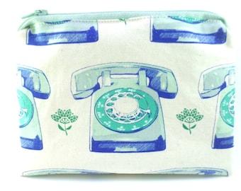 "Double Mini Wet Bag 6"" x 4.5"" approx. Telephones print."