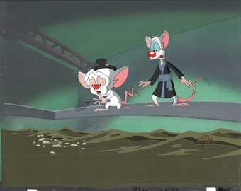Spielberg Pinky and The Brain 1995-98 production cel with Warner Brothers Seal