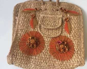 Vintage 1960s Straw Beach Tote Mexican Tote bag