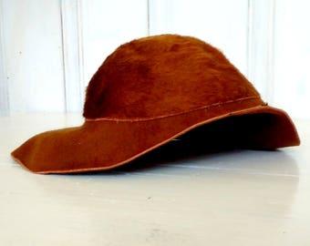 Stetson Floppy Wide Brim Hat/MELUSINE/Beaver Fur/Brown/Vintage/size 22 1/2/lindafrenchgallery