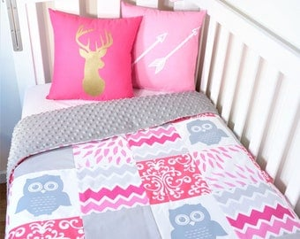Pink and grey, baby girl owl patchwork nursery items - cot quilt throw cushions, cot fitted sheet, bunting