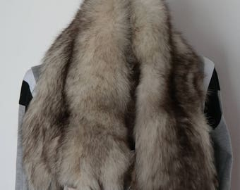 Vintage fox fur, fox stole, full body pelt,  wrap stole, fur collar, real fur red fox stole with tail paws and face, Central Europe fox