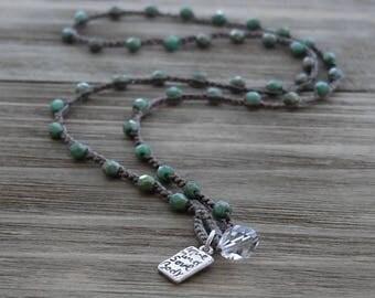 Beaded Yoga Bracelet, Beaded Yoga Necklace, Love Mind Soul Body, Green Turquoise Crochet Wrap Bracelet Necklace, by Boho and Indigo
