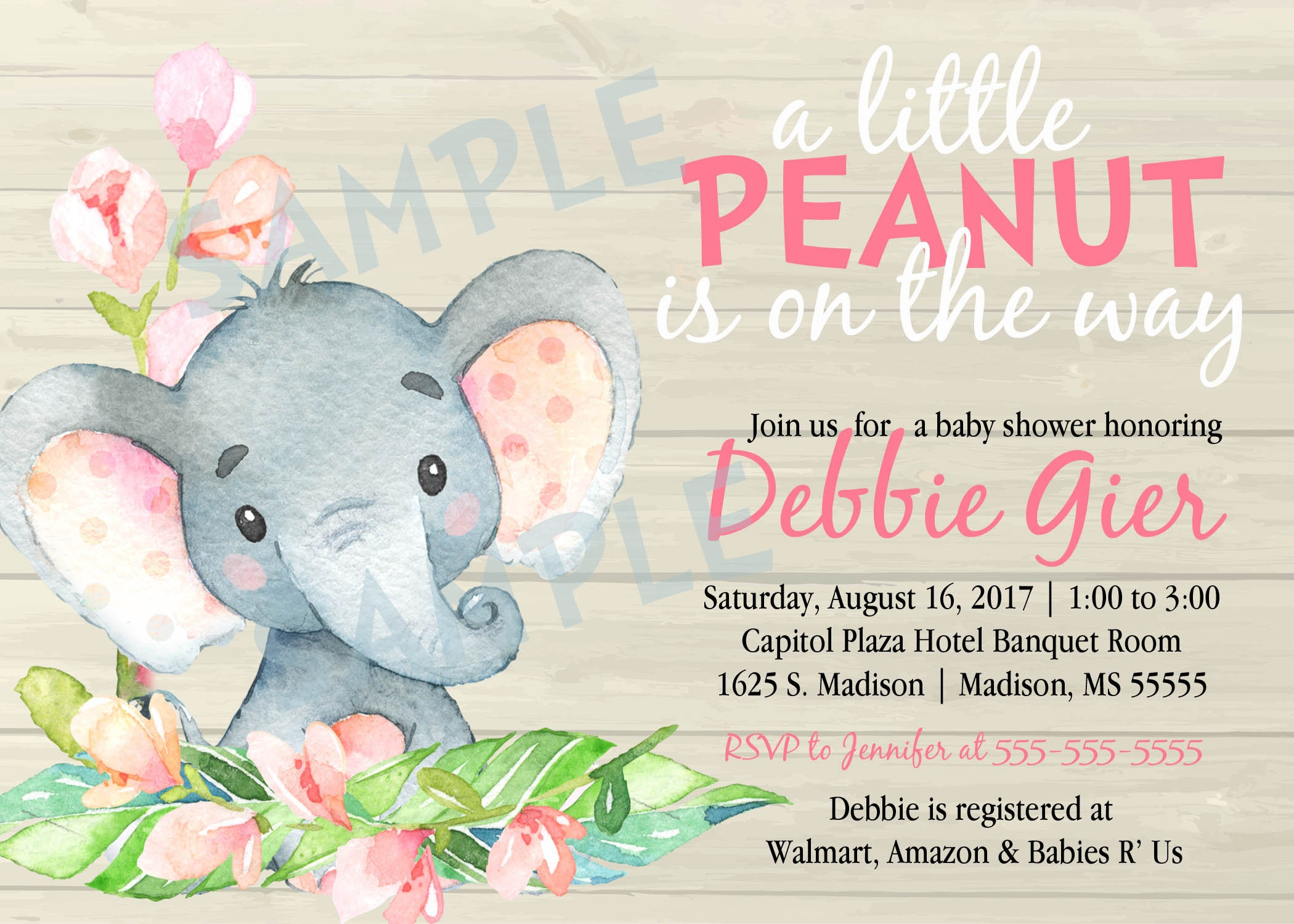 Printable Baby or Adoption Shower Invitation - Watercolor - Elephant ...