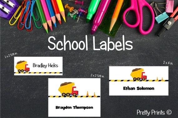 School Labels, Back to School, Dump Truck, Personalized Stickers, Personalized Labels, Dump Truck Labels, Tags, Truck Labels, Boy Labels