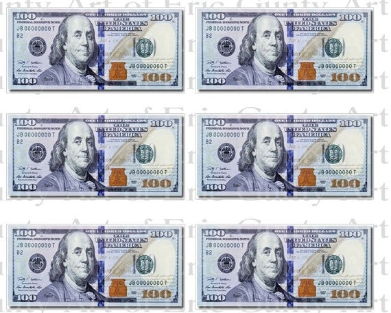 Casino 100 Dollar Bills  Birthday - Designer Strips - Edible Cake Side Toppers- Decorate The Sides of Your Cake! - D22804