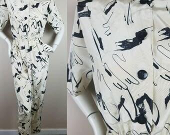 1980s vintage romper pants cream black short sleeves jumpsuit