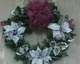 """20"""" Silver and Maroon Christmas Wreath"""
