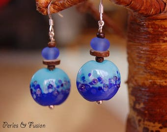 Lampwork Glass and wood earrings * blue coconut * blue/purple tones