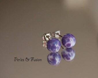 Glass Stud Earrings * art * tone white/purple - Lampwork Glass
