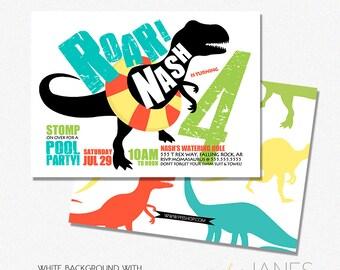 "Dinosaur Pool Party Birthday Invitation | Dinosaur Digital Printable Invite | Dino swim Party Invitation - 5X7 with *bonus reverse side"""