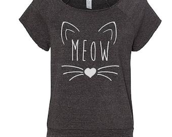 Meow Heart Cute Kitten Cat Outfit Tee Top Women's Cut Off Sweatshirt DT1573