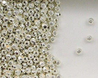 Sterling Silver 2.5mm Faceted Round Spacer Beads, Choice of Lot Size & Price