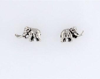 Sterling Silver Woolly Mammoth Post or Stud Earrings