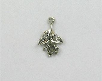 Sterling Silver 3-D Oak Leaf Charm