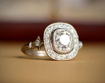 Diamond Halo Engagement Ring - Antique Cushion Cut Halo Engagement Ring
