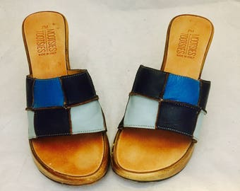 Leather Platform Wedge Sandals Slides Size 7 36 37 made in Italy