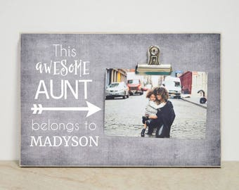 Auntie Gift Picture Frame, Custom Photo Frame, Personalized Gift  {This Awesome Aunt Belongs To...} Christmas Gift for Aunt, Favorite Aunt