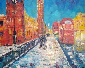 Big Ben in Snow, LONDON UK  -Pen King -A1313