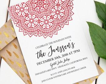 Holiday Mandala Invitation | Editable Printable Invitation | Custom Holiday Invite | Red Mandala | World Theme | Bohemian Invitation