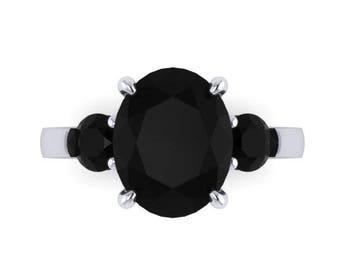 Oval Genuine Black Diamond Engagement Ring 14k White Gold Three-Stone Wedding Ring Black Diamond Bridal Jewelry Unique Marriage Ring - V1164