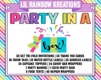 Party In A Box - Printed And Assemble Order In Any Theme Of Choice