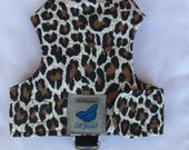 "Escape proof when sized and fitted correctly Classic Leopard Print ""Butterfly Cat Jackets"" walking harness, jacket, holster, vest"