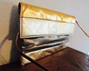 Vintage 1970's 'Frenchys Of California' Gold & Bronze Leather Shoulderbag/Clutchbag - Lovely!!