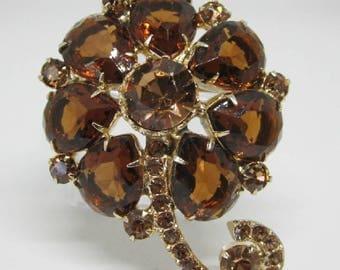 """Vintage Rhinestone Jewelry -  """"Juliana"""" FlowerBrooch Pin  - Verified - Delizza & Elster"""