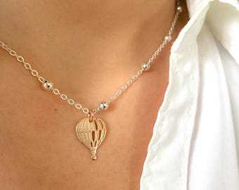 Necklace entirely in 925 silver with balloon pendant