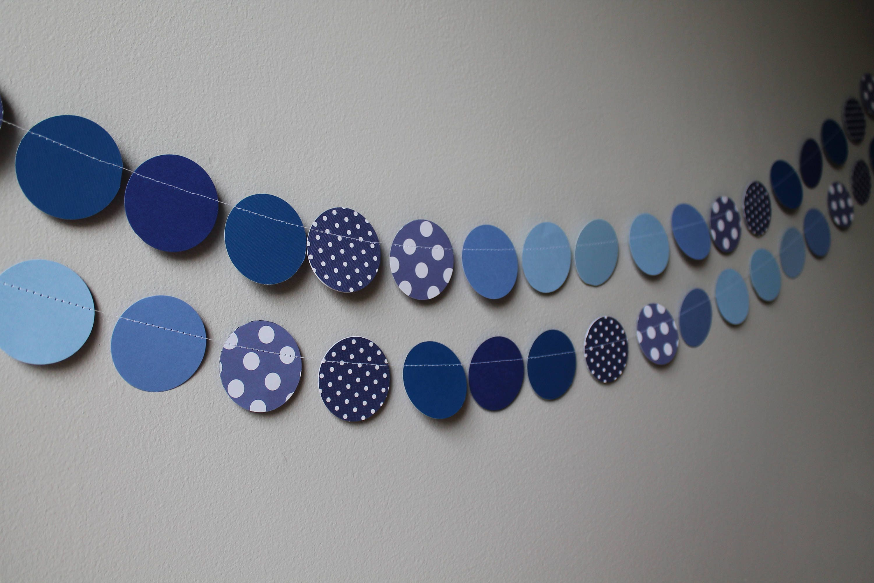 READY TO SHIP navy blue periwinkle circle paper garland banner