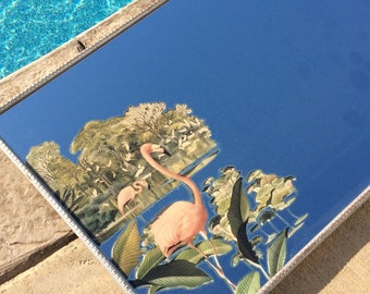"Vintage ""Turner"" Pink Flamingo Mirror, Silver Mid Century Frame, Coastal, Tropical, Beach, Cottage, Hollywood Regency"