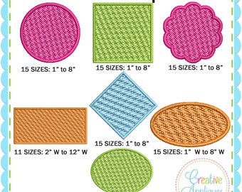 Embossed Monogram Frame Set Digital Machine Embroidery Design 71 Sizes, pile drop, nap tack down, embossed frame, pile down, 71 shapes