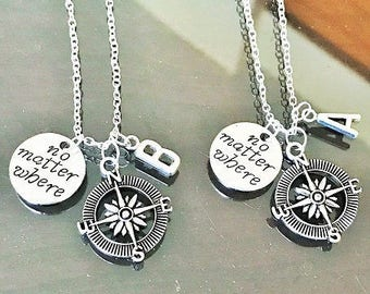 SALE - Set of 2 Compass Necklace, No Matter Where, Friendship Necklace, Bff Necklace, Initial Necklace, Couple Necklace, Gift.
