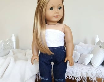 18 inch doll dark wash distressed jeans