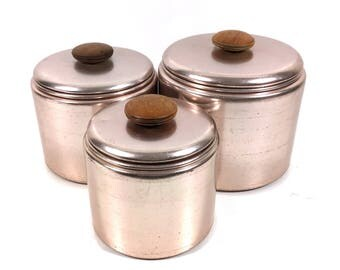 Set of 3 Vintage Copper Finish Aluminum Nesting Kitchen Canisters for Flour, Sugar, Coffee or Tea by Mirro