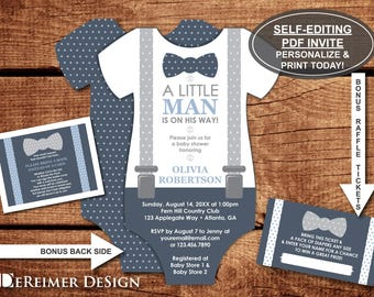 Little Man Baby Shower Invitation, Onesie Invitation, Bow Tie, Navy Blue, Gray, Self-Editing Invite, Book Card, BONUS Diaper Raffle Tickets