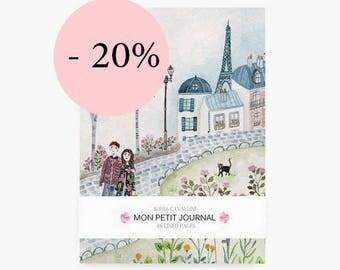 Notebook, Paris,  journal, diary, cat pattern, eiffel tower, A6, handmade, stationery, carnet, fleurs, gift, city, spring, papergoods, sale